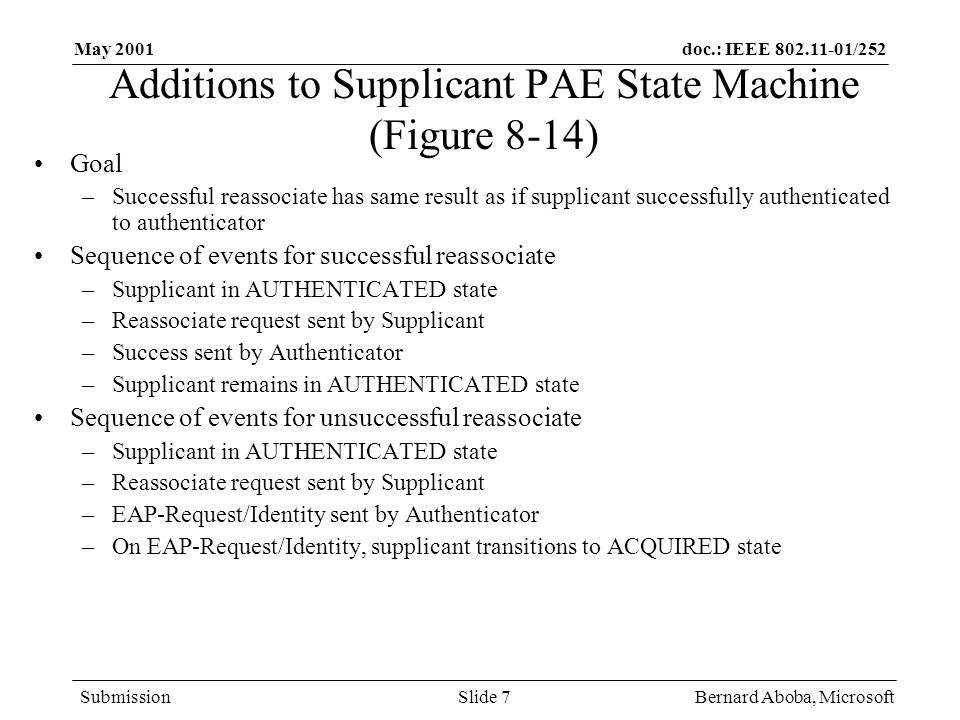 doc.: IEEE /252 Submission May 2001 Bernard Aboba, MicrosoftSlide 7 Additions to Supplicant PAE State Machine (Figure 8-14) Goal –Successful reassociate has same result as if supplicant successfully authenticated to authenticator Sequence of events for successful reassociate –Supplicant in AUTHENTICATED state –Reassociate request sent by Supplicant –Success sent by Authenticator –Supplicant remains in AUTHENTICATED state Sequence of events for unsuccessful reassociate –Supplicant in AUTHENTICATED state –Reassociate request sent by Supplicant –EAP-Request/Identity sent by Authenticator –On EAP-Request/Identity, supplicant transitions to ACQUIRED state
