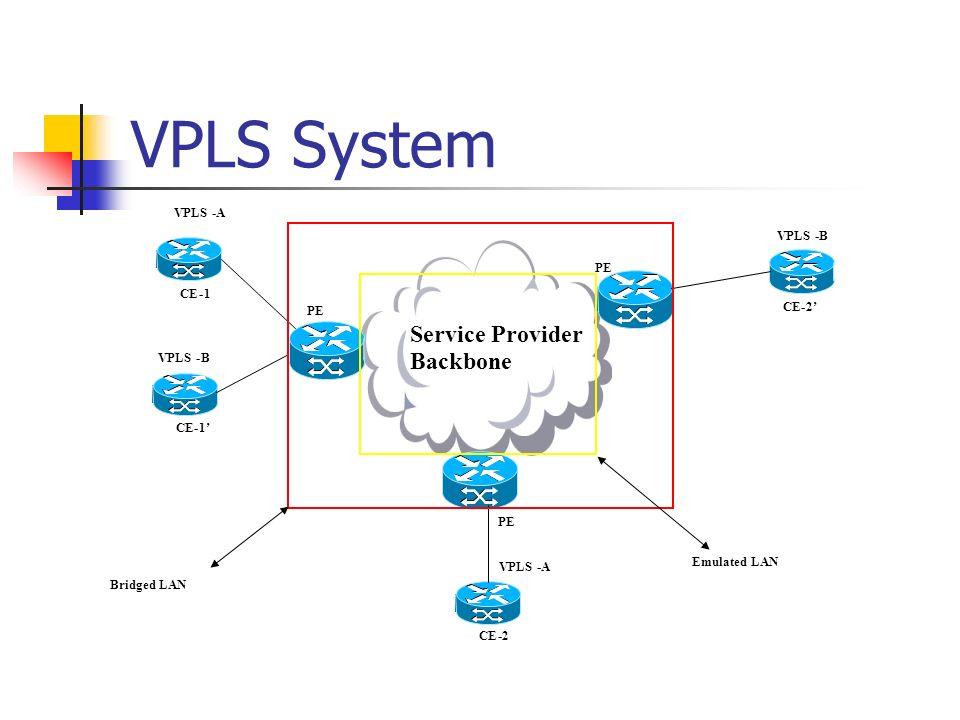VPLS System PE Service Provider Backbone PE VPLS-A -B -B -A Emulated LAN CE-1 -2 -2 -1 Bridged LAN