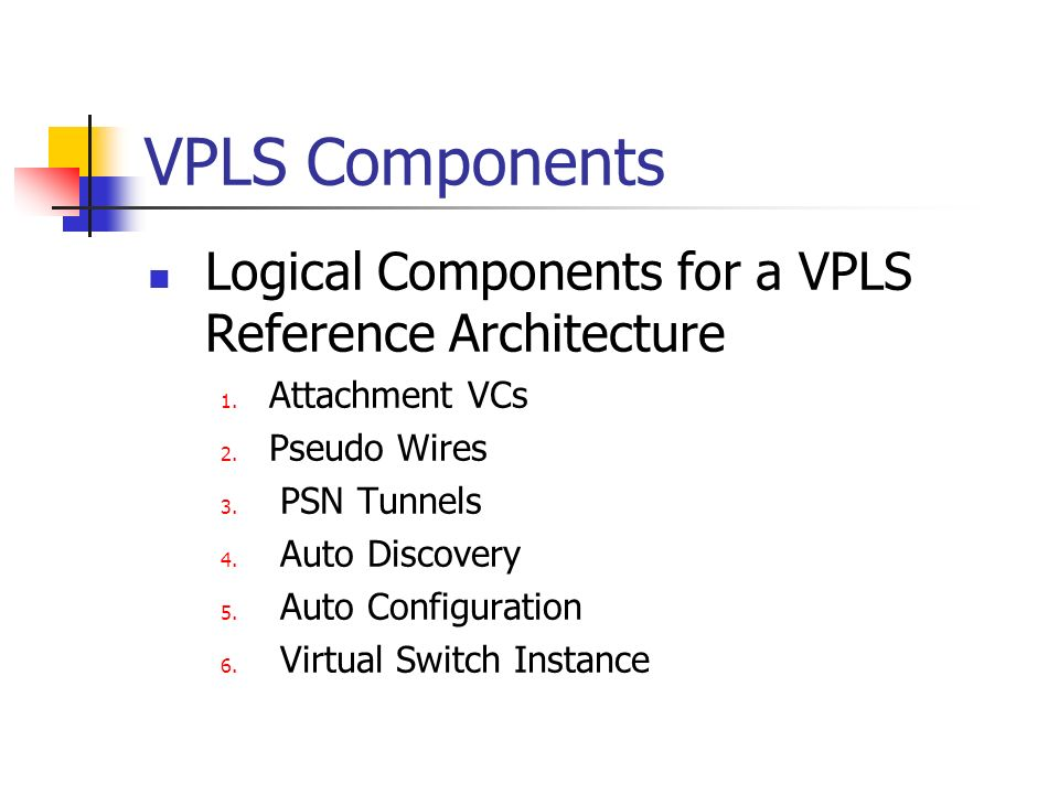 VPLS Components Logical Components for a VPLS Reference Architecture 1.