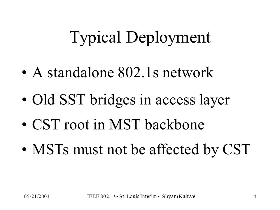 05/21/2001IEEE 802.1s - St. Louis Interim - Shyam Kaluve3 Common Spanning Tree (802.1s)