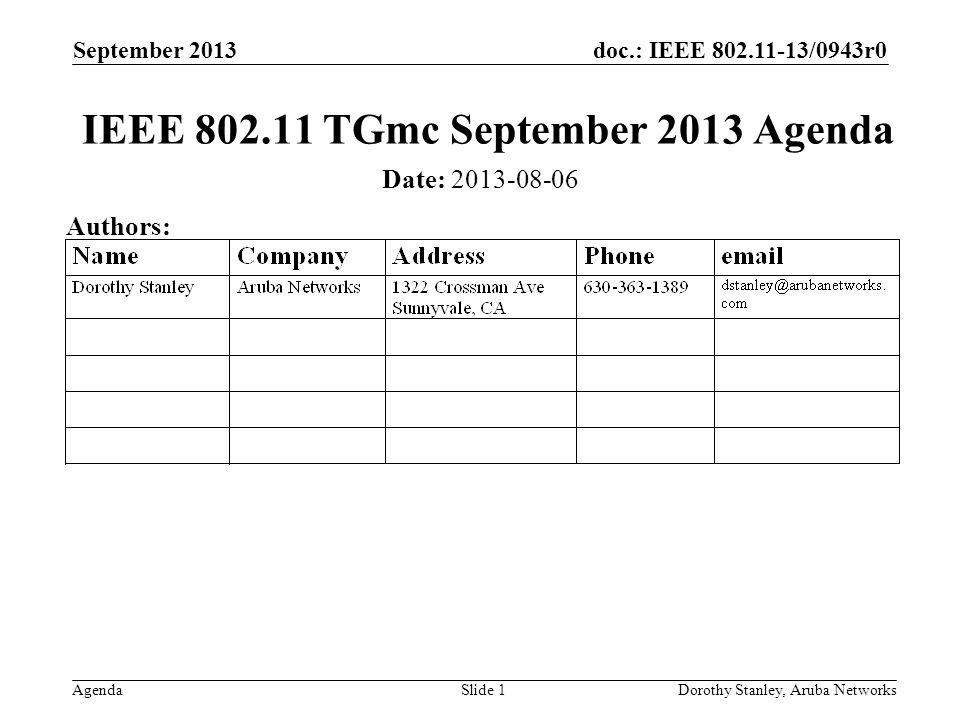 doc.: IEEE 802.11-13/0943r0 Agenda September 2013 Dorothy Stanley, Aruba NetworksSlide 1 IEEE 802.11 TGmc September 2013 Agenda Date: 2013-08-06 Authors: