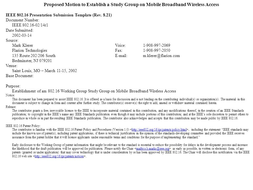 Proposed Motion to Establish a Study Group on Mobile Broadband Wireless Access IEEE Presentation Submission Template (Rev.