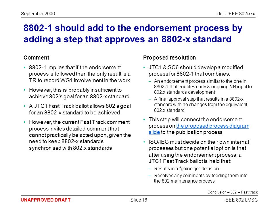 doc: IEEE 802/xxx UNAPPROVED DRAFT September 2006 IEEE 802 LMSCSlide 16 8802-1 should add to the endorsement process by adding a step that approves an 8802-x standard Comment 8802-1 implies that if the endorsement process is followed then the only result is a TR to record WG1 involvement in the work However, this is probably insufficient to achieve 802s goal for an 8802-x standard A JTC1 Fast Track ballot allows 802s goal for an 8802-x standard to be achieved However, the current Fast Track comment process invites detailed comment that cannot practically be acted upon, given the need to keep 8802-x standards synchronised with 802.x standards Proposed resolution JTC1 & SC6 should develop a modified process for 8802-1 that combines: –An endorsement process similar to the one in 8802-1 that enables early & ongoing NB input to 802.x standards development –A final approval step that results in a 8802-x standard with no changes from the equivalent 802.x standard This step will connect the endorsement process on the proposed process diagram slide to the publication processthe proposed process diagram slide ISO/IEC must decide on their own internal processes but one potential option is that after using the endorsement process, a JTC1 Fast Track ballot is held that: –Results in a go/no go decision –Resolves any comments by feeding them into the 802 maintenance process Conclusion – 802 – Fast track