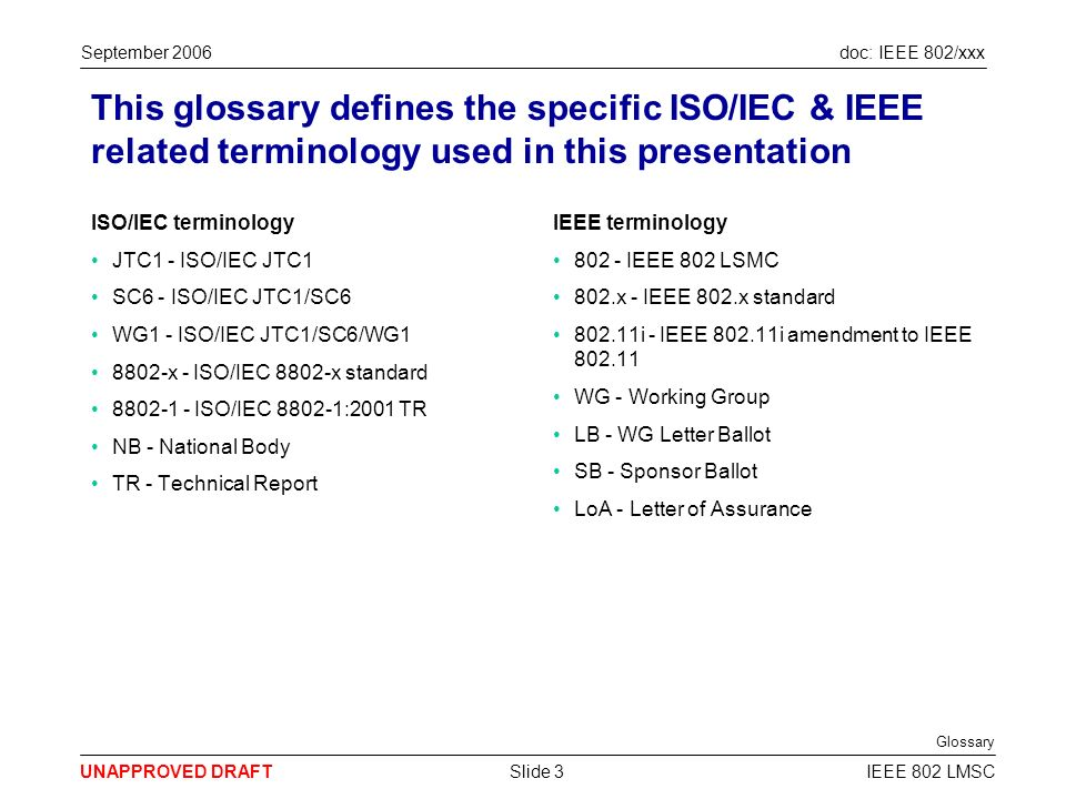 doc: IEEE 802/xxx UNAPPROVED DRAFT September 2006 IEEE 802 LMSCSlide 3 This glossary defines the specific ISO/IEC & IEEE related terminology used in this presentation ISO/IEC terminology JTC1 - ISO/IEC JTC1 SC6 - ISO/IEC JTC1/SC6 WG1 - ISO/IEC JTC1/SC6/WG1 8802-x - ISO/IEC 8802-x standard 8802-1 - ISO/IEC 8802-1:2001 TR NB - National Body TR - Technical Report IEEE terminology 802 - IEEE 802 LSMC 802.x - IEEE 802.x standard 802.11i - IEEE 802.11i amendment to IEEE 802.11 WG - Working Group LB - WG Letter Ballot SB - Sponsor Ballot LoA - Letter of Assurance Glossary