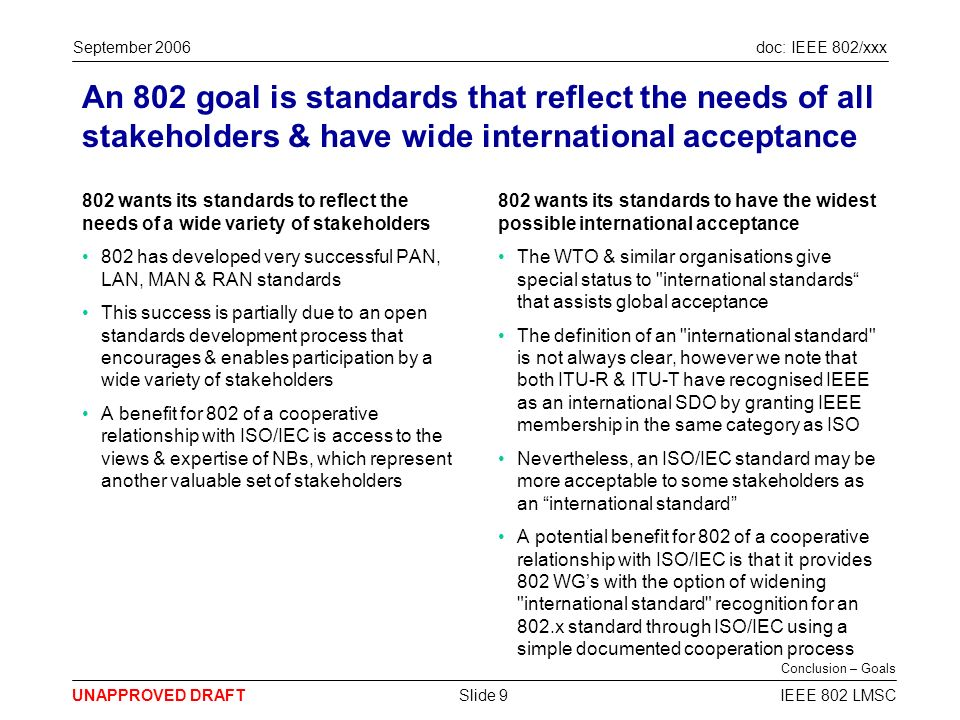 doc: IEEE 802/xxx UNAPPROVED DRAFT September 2006 IEEE 802 LMSCSlide 9 An 802 goal is standards that reflect the needs of all stakeholders & have wide international acceptance 802 wants its standards to reflect the needs of a wide variety of stakeholders 802 has developed very successful PAN, LAN, MAN & RAN standards This success is partially due to an open standards development process that encourages & enables participation by a wide variety of stakeholders A benefit for 802 of a cooperative relationship with ISO/IEC is access to the views & expertise of NBs, which represent another valuable set of stakeholders 802 wants its standards to have the widest possible international acceptance The WTO & similar organisations give special status to international standards that assists global acceptance The definition of an international standard is not always clear, however we note that both ITU-R & ITU-T have recognised IEEE as an international SDO by granting IEEE membership in the same category as ISO Nevertheless, an ISO/IEC standard may be more acceptable to some stakeholders as an international standard A potential benefit for 802 of a cooperative relationship with ISO/IEC is that it provides 802 WGs with the option of widening international standard recognition for an 802.x standard through ISO/IEC using a simple documented cooperation process Conclusion – Goals