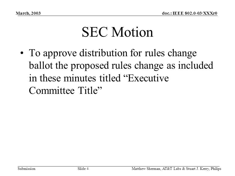 doc.: IEEE 802.0-03/XXXr0 Submission March, 2003 Matthew Sherman, AT&T Labs & Stuart J.