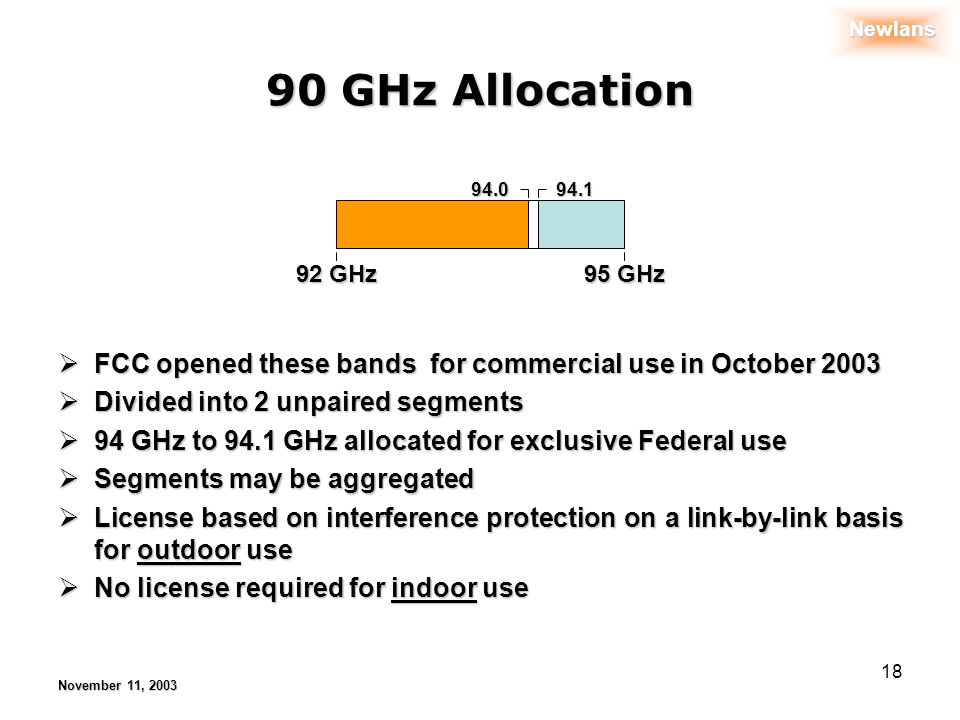 Newlans November 11, 2003 18 90 GHz Allocation 92 GHz 94.094.1 95 GHz FCC opened these bands for commercial use in October 2003 FCC opened these bands for commercial use in October 2003 Divided into 2 unpaired segments Divided into 2 unpaired segments 94 GHz to 94.1 GHz allocated for exclusive Federal use 94 GHz to 94.1 GHz allocated for exclusive Federal use Segments may be aggregated Segments may be aggregated License based on interference protection on a link-by-link basis for outdoor use License based on interference protection on a link-by-link basis for outdoor use No license required for indoor use No license required for indoor use