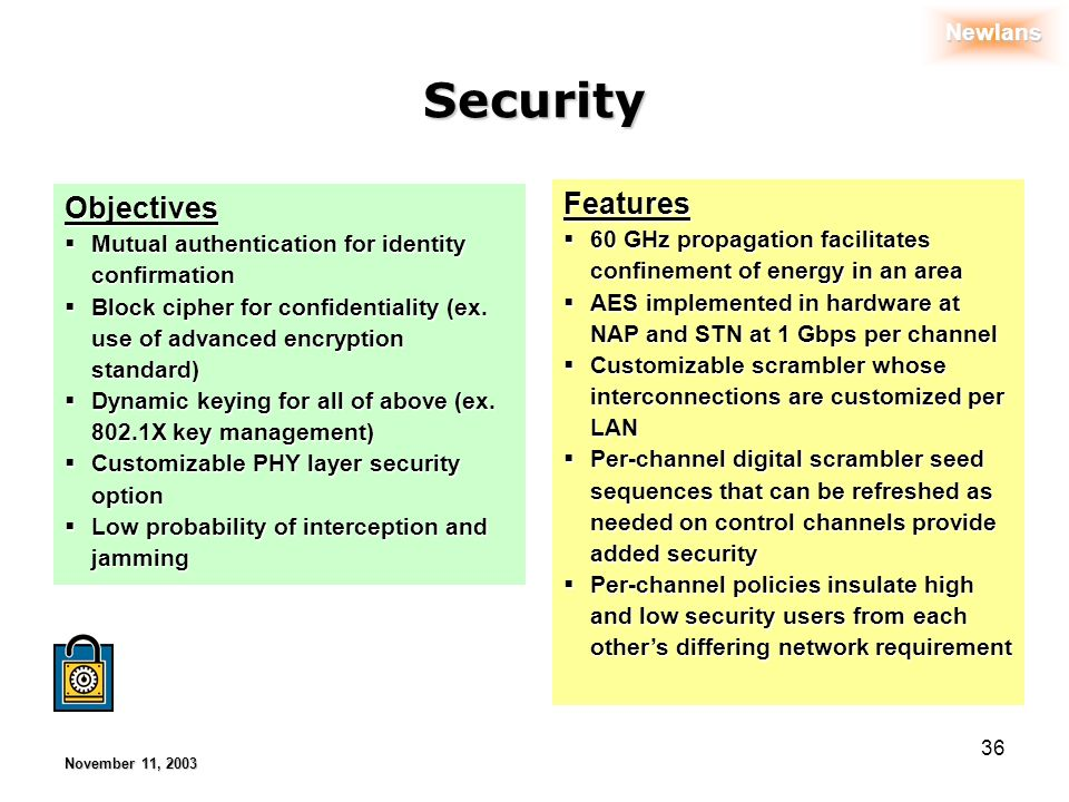 Newlans November 11, 2003 36 Security Objectives Mutual authentication for identity confirmation Mutual authentication for identity confirmation Block cipher for confidentiality (ex.