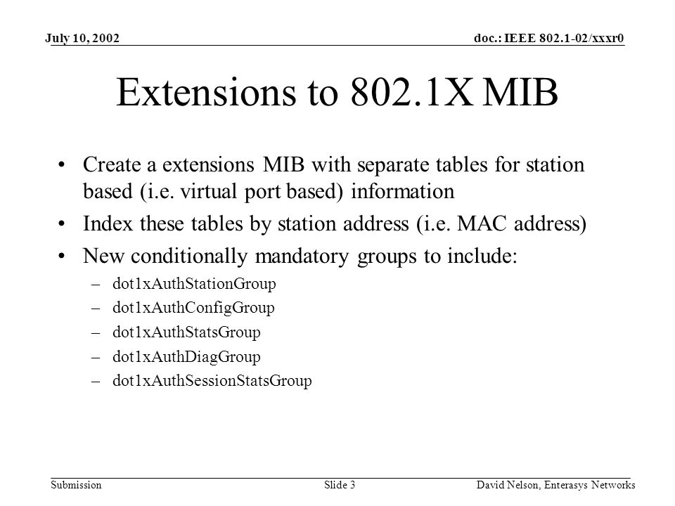 doc.: IEEE 802.1-02/xxxr0 Submission July 10, 2002 David Nelson, Enterasys NetworksSlide 3 Extensions to 802.1X MIB Create a extensions MIB with separate tables for station based (i.e.
