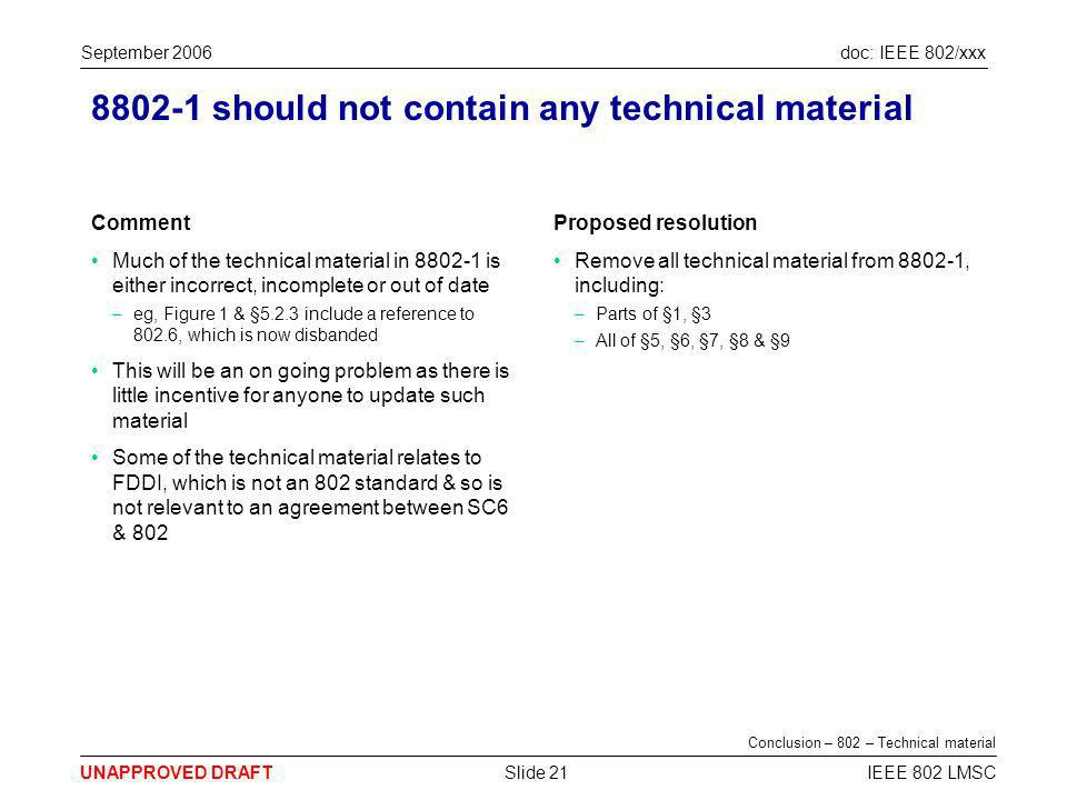 doc: IEEE 802/xxx UNAPPROVED DRAFT September 2006 IEEE 802 LMSCSlide 21 8802-1 should not contain any technical material Comment Much of the technical material in 8802-1 is either incorrect, incomplete or out of date –eg, Figure 1 & §5.2.3 include a reference to 802.6, which is now disbanded This will be an on going problem as there is little incentive for anyone to update such material Some of the technical material relates to FDDI, which is not an 802 standard & so is not relevant to an agreement between SC6 & 802 Proposed resolution Remove all technical material from 8802-1, including: –Parts of §1, §3 –All of §5, §6, §7, §8 & §9 Conclusion – 802 – Technical material