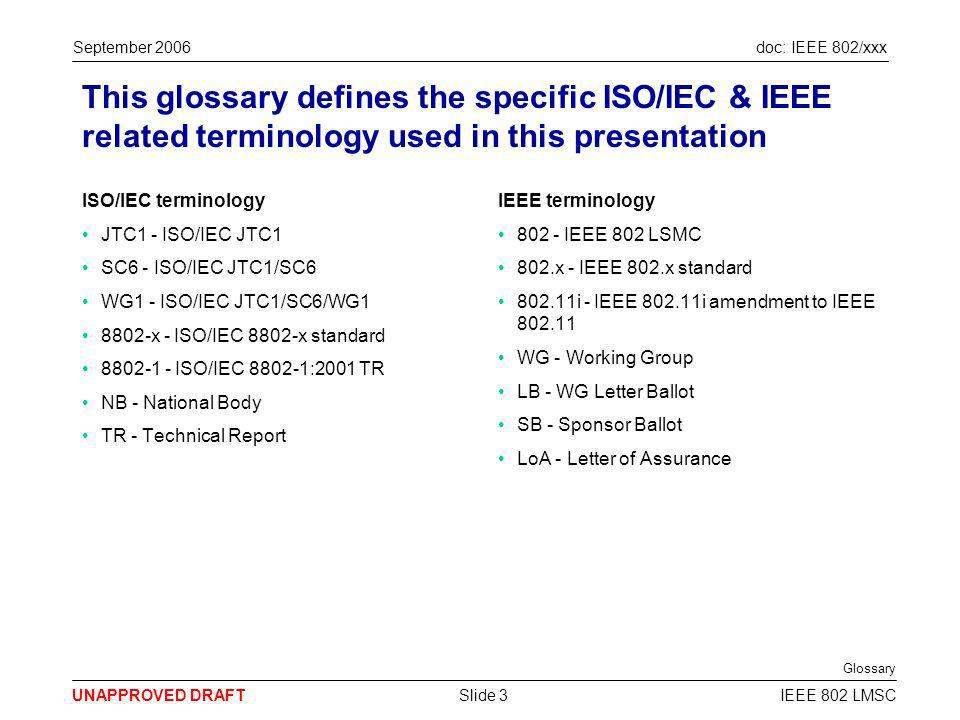 doc: IEEE 802/xxx UNAPPROVED DRAFT September 2006 IEEE 802 LMSCSlide 4 This presentation represents 802s input to SC6s review of the 8802-1 cooperation agreement SC6 has started a review of the 8802-1 cooperation agreement Difficult issues related to the approval of WAPI as an amendment to 8802-11 were recently avoided The WAPI debate highlighted various issues with the 8802-1 cooperation agreement between SC6 & 802 The 8802-1 cooperation agreement has fallen into disuse & has practical implementation issues SC6 has started a review to resolve the problems with the 8802-1 cooperation agreement 802 has approved this presentation as input into the SC6 review 802 overall goals for its relationship with ISO/IEC are better 802.x standards & international standardisation 8802-1 & related documents provide a good basis for cooperation between 802 & WG1 8802-1 should be modified so that standardisation can always be achieved...