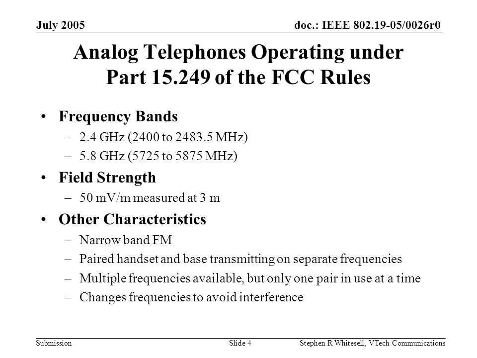 doc.: IEEE 802.19-05/0026r0 Submission July 2005 Stephen R Whitesell, VTech CommunicationsSlide 4 Analog Telephones Operating under Part 15.249 of the