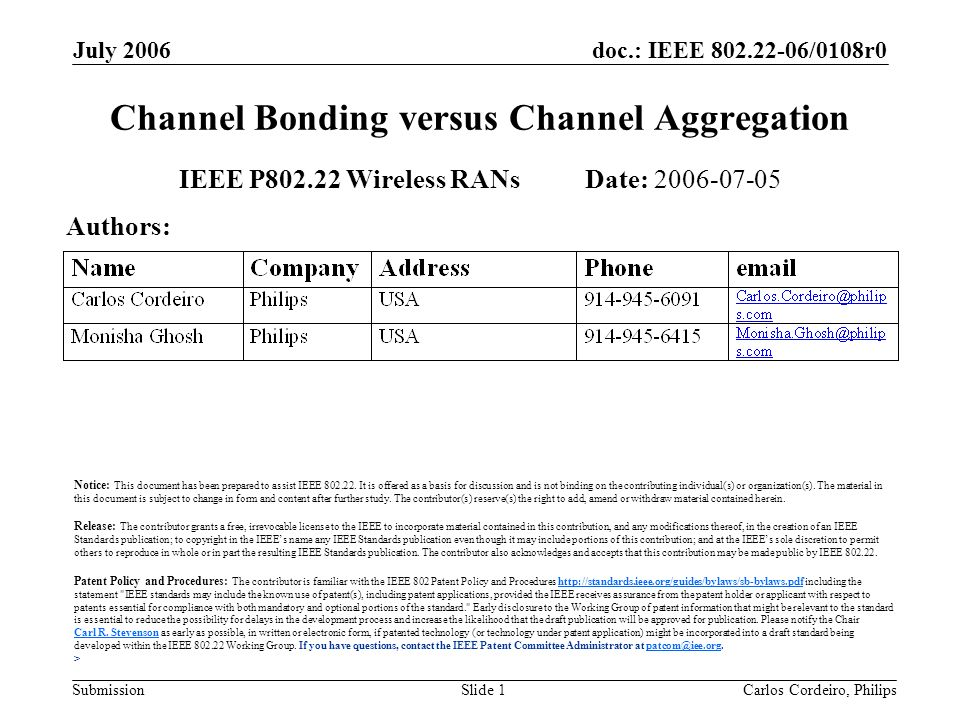 doc.: IEEE 802.22-06/0108r0 Submission July 2006 Carlos Cordeiro, PhilipsSlide 1 Channel Bonding versus Channel Aggregation IEEE P802.22 Wireless RANs Date: 2006-07-05 Authors: Notice: This document has been prepared to assist IEEE 802.22.