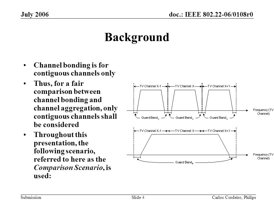 doc.: IEEE 802.22-06/0108r0 Submission July 2006 Carlos Cordeiro, PhilipsSlide 4 Background Channel bonding is for contiguous channels only Thus, for a fair comparison between channel bonding and channel aggregation, only contiguous channels shall be considered Throughout this presentation, the following scenario, referred to here as the Comparison Scenario, is used: