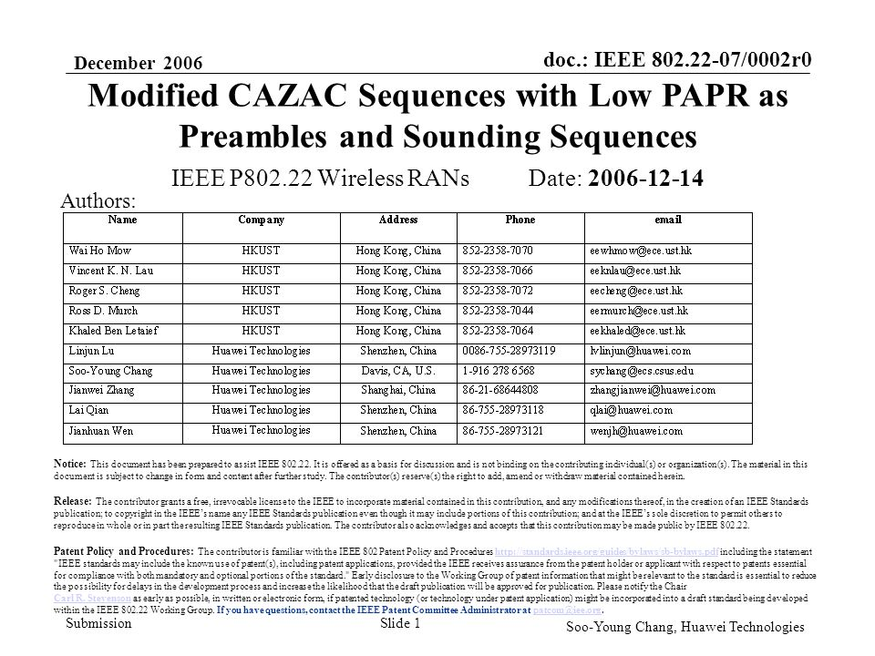 doc.: IEEE 802.22-07/0002r0 Submission December 2006 Soo-Young Chang, Huawei Technologies Slide 12 Summary We propose the use of modified CAZAC sequences as preambles and sounding sequences.