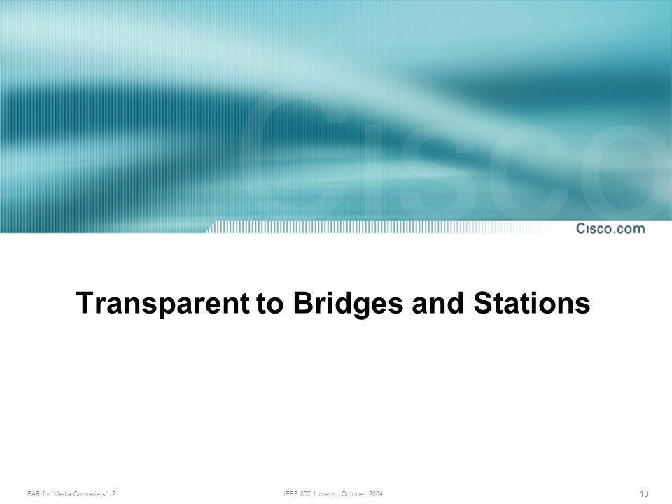 PAR for Media Converters r2IEEE 802.1 interim, October, 2004 10 Transparent to Bridges and Stations