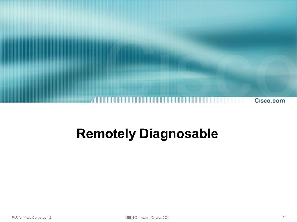 PAR for Media Converters r2IEEE 802.1 interim, October, 2004 15 Remotely Diagnosable