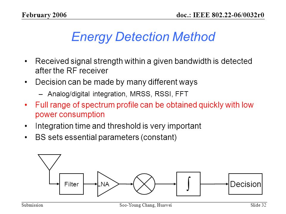 Energy Detection Method Received signal strength within a given bandwidth is detected after the RF receiver Decision can be made by many different way
