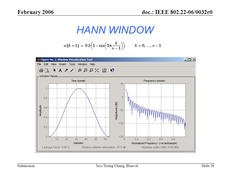 HANN WINDOW February 2006 Soo-Young Chang, Huawei Slide 36 doc.: IEEE 802.22-06/0032r0 Submission