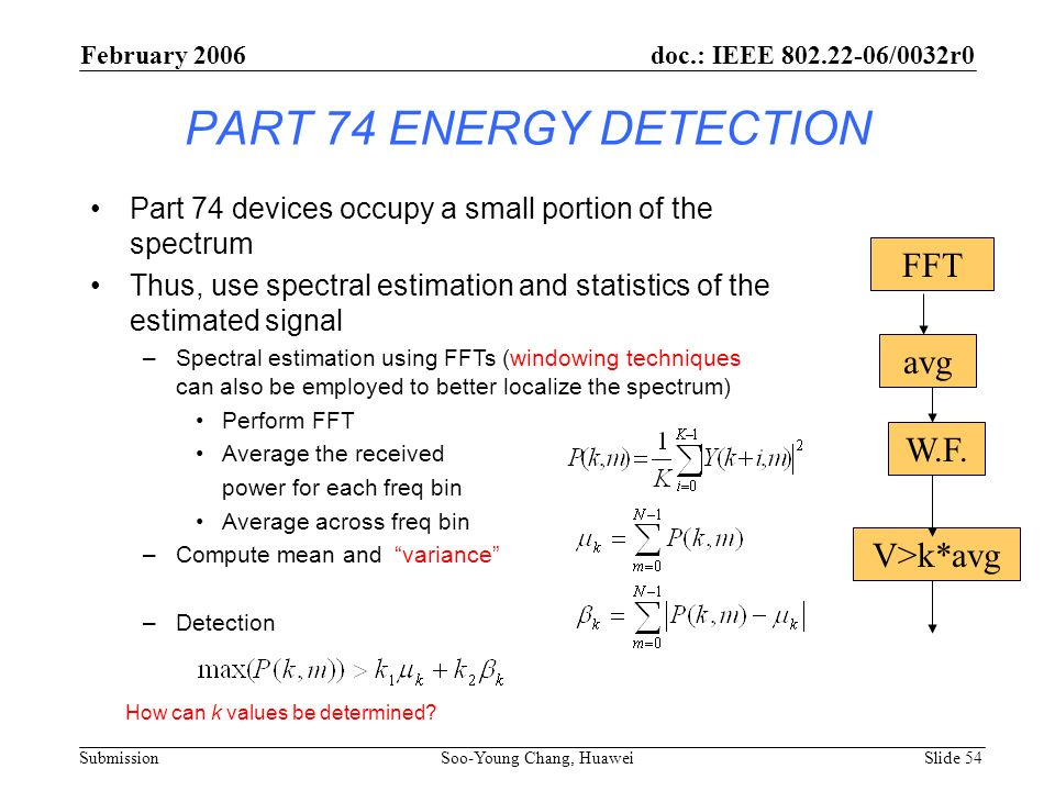PART 74 ENERGY DETECTION Part 74 devices occupy a small portion of the spectrum Thus, use spectral estimation and statistics of the estimated signal –