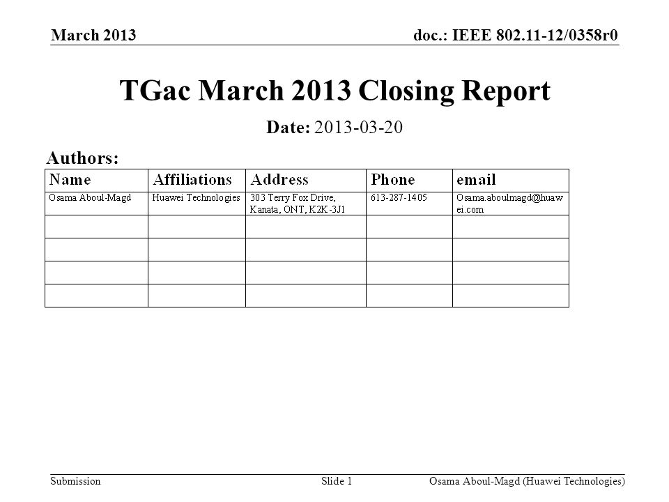 doc.: IEEE 802.11-12/0358r0 Submission March 2013 Osama Aboul-Magd (Huawei Technologies)Slide 1 TGac March 2013 Closing Report Date: 2013-03-20 Author