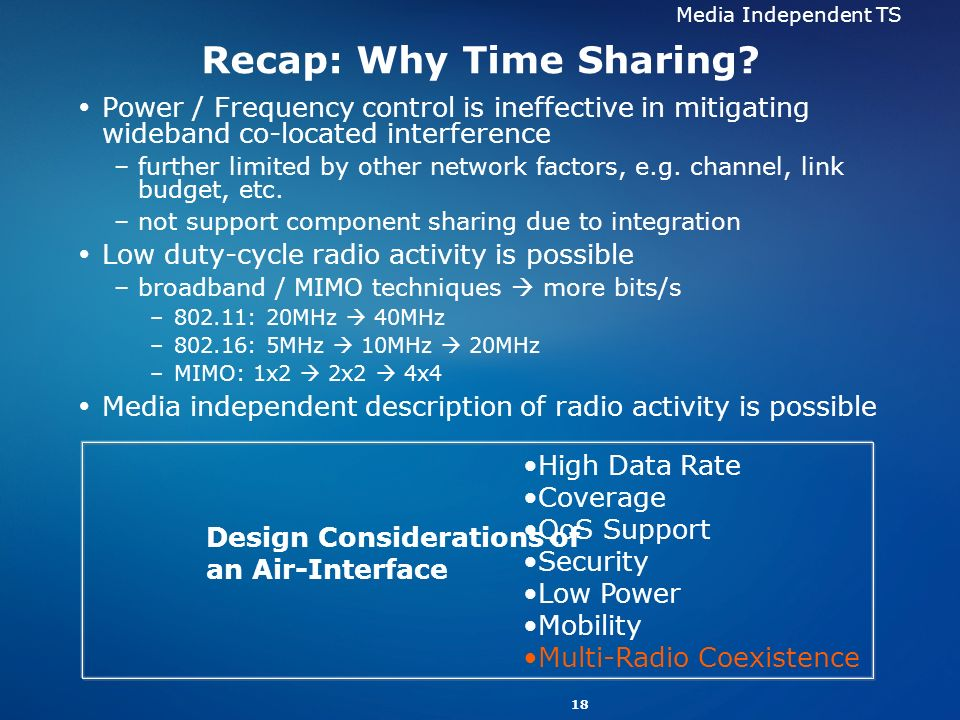 18 Recap: Why Time Sharing? Power / Frequency control is ineffective in mitigating wideband co-located interference –further limited by other network