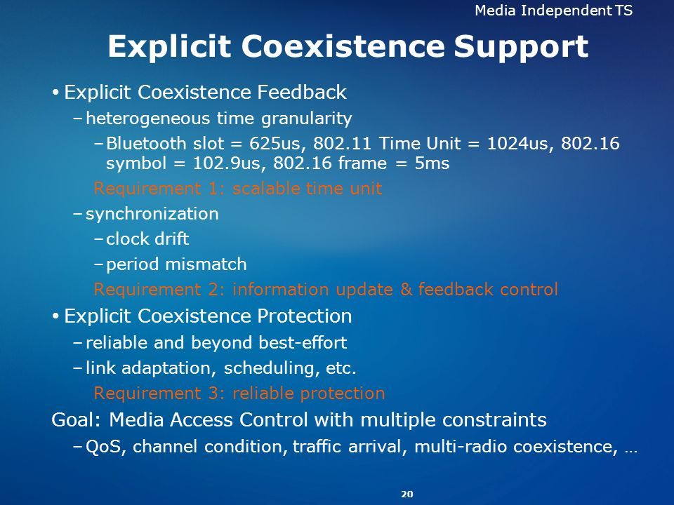 20 Explicit Coexistence Support Explicit Coexistence Feedback –heterogeneous time granularity –Bluetooth slot = 625us, 802.11 Time Unit = 1024us, 802.16 symbol = 102.9us, 802.16 frame = 5ms Requirement 1: scalable time unit –synchronization –clock drift –period mismatch Requirement 2: information update & feedback control Explicit Coexistence Protection –reliable and beyond best-effort –link adaptation, scheduling, etc.