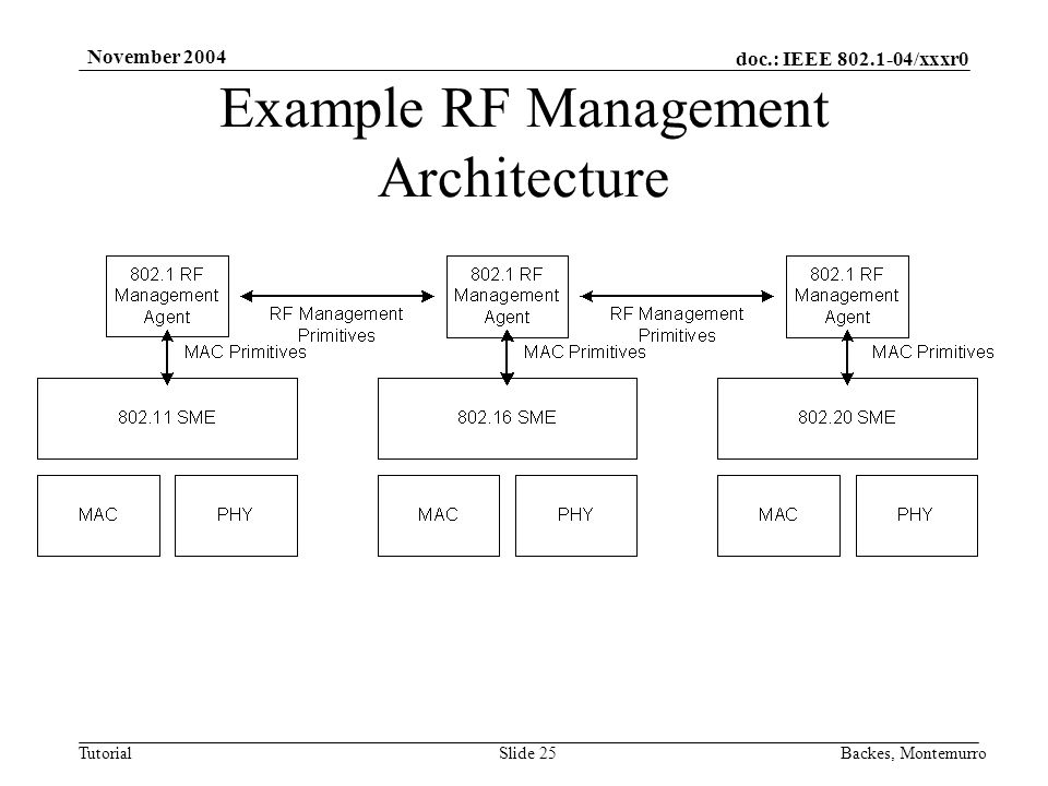 doc.: IEEE 802.1-04/xxxr0 Tutorial November 2004 Backes, MontemurroSlide 25 Example RF Management Architecture