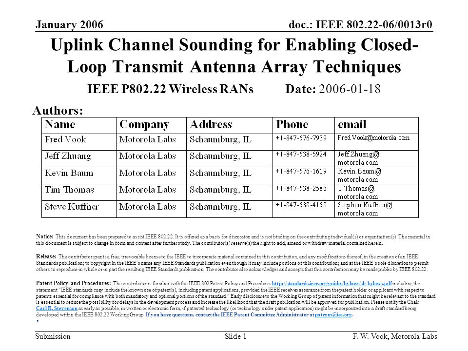 doc.: IEEE 802.22-06/0013r0 Submission January 2006 F. W. Vook, Motorola LabsSlide 1 Uplink Channel Sounding for Enabling Closed- Loop Transmit Antenn