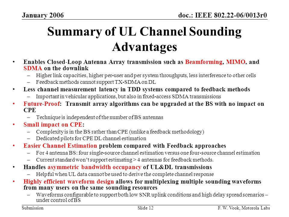 doc.: IEEE 802.22-06/0013r0 Submission January 2006 F.