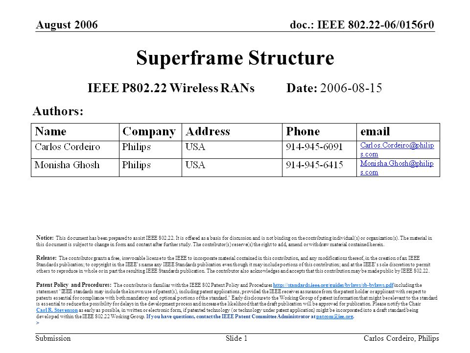 doc.: IEEE 802.22-06/0156r0 Submission August 2006 Carlos Cordeiro, PhilipsSlide 1 Superframe Structure IEEE P802.22 Wireless RANs Date: 2006-08-15 Authors: Notice: This document has been prepared to assist IEEE 802.22.