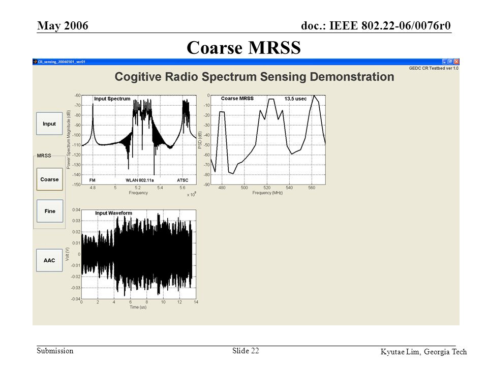 doc.: IEEE 802.22-06/0076r0 Submission Kyutae Lim, Georgia Tech May 2006 Slide 22 Coarse MRSS