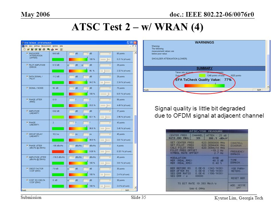 doc.: IEEE 802.22-06/0076r0 Submission Kyutae Lim, Georgia Tech May 2006 Slide 35 Signal quality is little bit degraded due to OFDM signal at adjacent channel ATSC Test 2 – w/ WRAN (4)