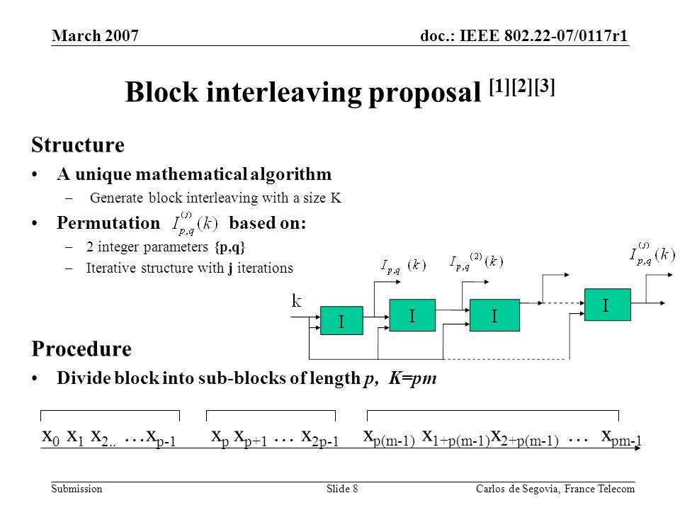 doc.: IEEE 802.22-07/0117r1 Submission March 2007 Carlos de Segovia, France TelecomSlide 8 Block interleaving proposal [1][2][3] Structure A unique mathematical algorithm – Generate block interleaving with a size K Permutation based on: –2 integer parameters {p,q} –Iterative structure with j iterations Procedure Divide block into sub-blocks of length p, K=pm x 0 x 1 x 2..