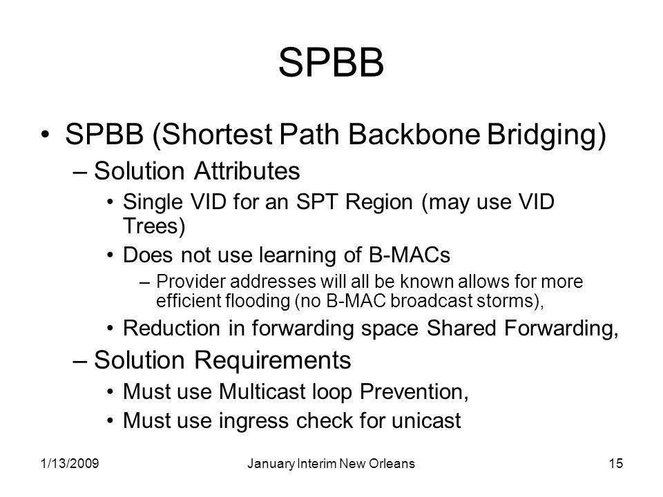 1/13/2009January Interim New Orleans15 SPBB SPBB (Shortest Path Backbone Bridging) –Solution Attributes Single VID for an SPT Region (may use VID Tree