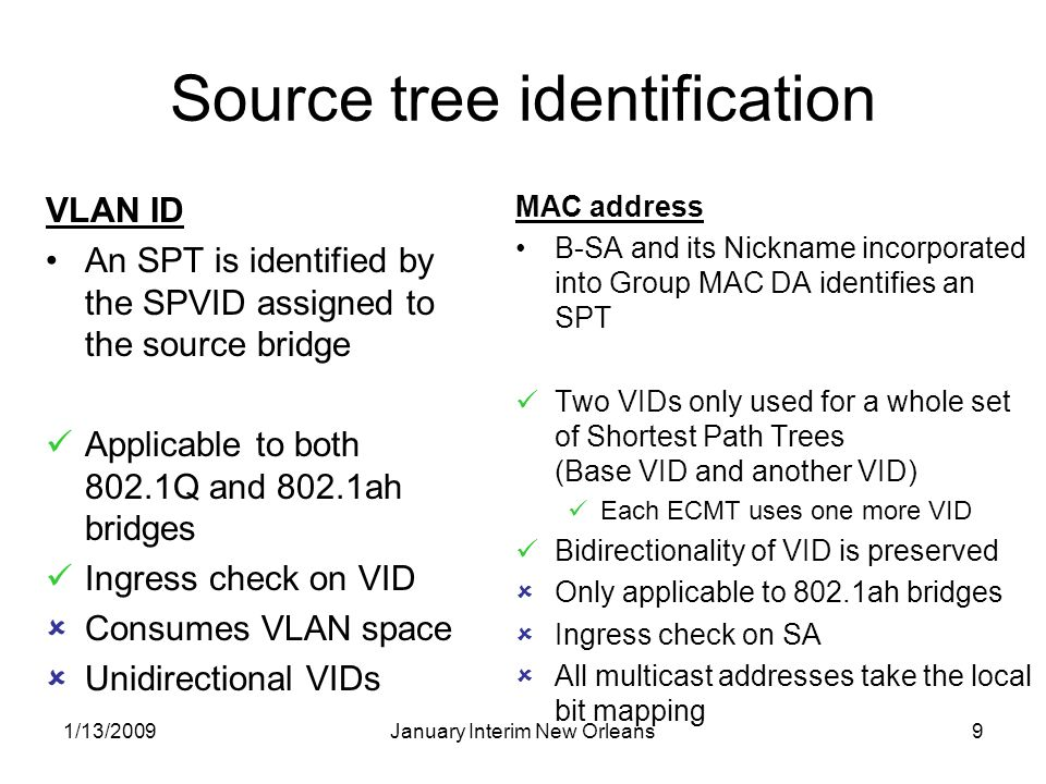 1/13/2009January Interim New Orleans9 Source tree identification VLAN ID An SPT is identified by the SPVID assigned to the source bridge Applicable to both 802.1Q and 802.1ah bridges Ingress check on VID Consumes VLAN space Unidirectional VIDs MAC address B-SA and its Nickname incorporated into Group MAC DA identifies an SPT Two VIDs only used for a whole set of Shortest Path Trees (Base VID and another VID) Each ECMT uses one more VID Bidirectionality of VID is preserved Only applicable to 802.1ah bridges Ingress check on SA All multicast addresses take the local bit mapping
