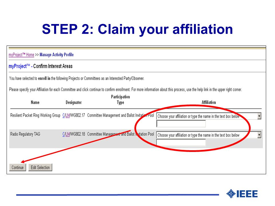 STEP 2: Claim your affiliation