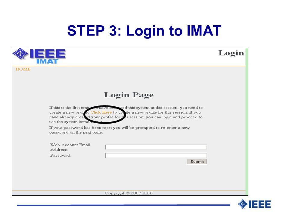 STEP 3: Login to IMAT