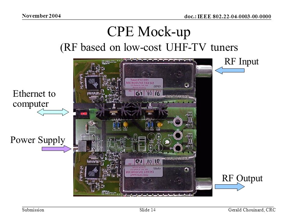 doc.: IEEE 802.22-04-0003-00-0000 Submission November 2004 Gerald Chouinard, CRCSlide 14 CPE Mock-up (RF based on low-cost UHF-TV tuners RF Input RF Output Ethernet to computer Power Supply