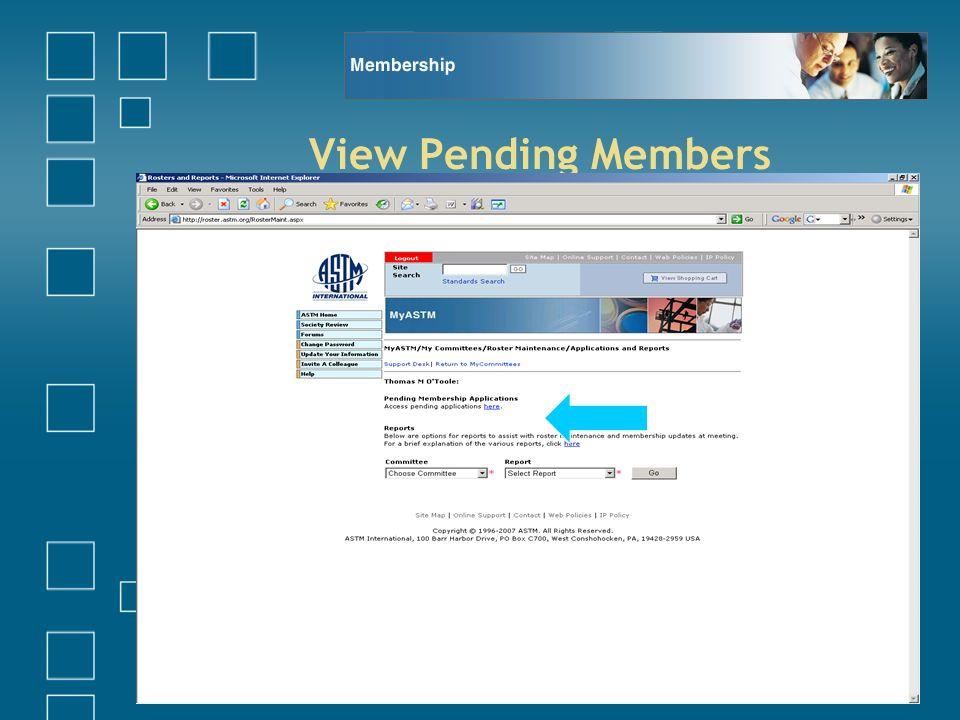 View Pending Members
