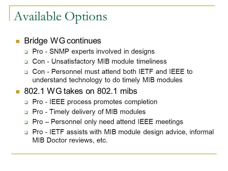 Available Options Bridge WG continues Pro - SNMP experts involved in designs Con - Unsatisfactory MIB module timeliness Con - Personnel must attend both IETF and IEEE to understand technology to do timely MIB modules WG takes on mibs Pro - IEEE process promotes completion Pro - Timely delivery of MIB modules Pro – Personnel only need attend IEEE meetings Pro - IETF assists with MIB module design advice, informal MIB Doctor reviews, etc.