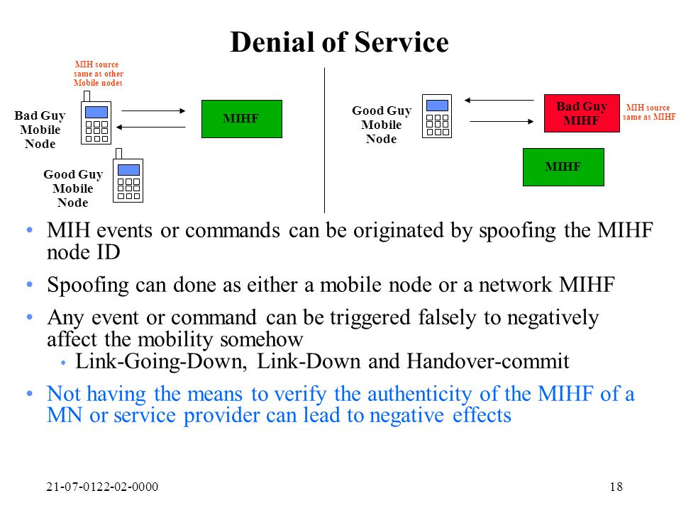 21-07-0122-02-000018 Denial of Service MIHF Good Guy Mobile Node MIH events or commands can be originated by spoofing the MIHF node ID Spoofing can do