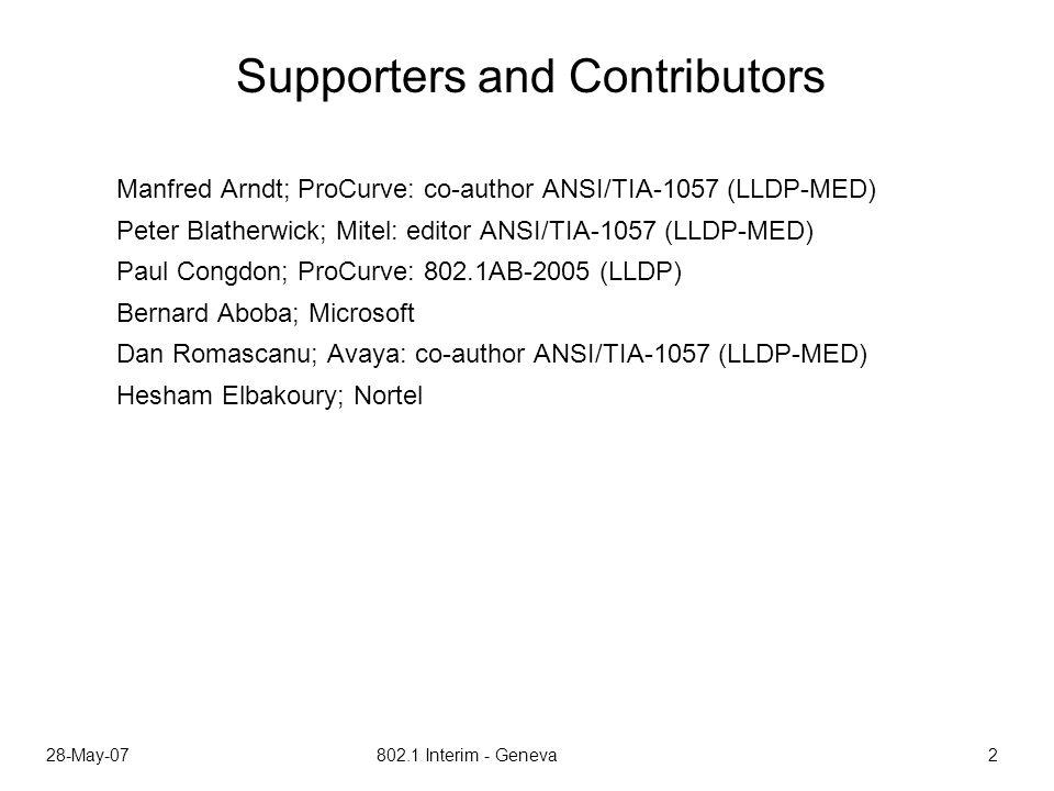 28-May-07 802.1 Interim - Geneva 2 Supporters and Contributors Manfred Arndt; ProCurve: co-author ANSI/TIA-1057 (LLDP-MED) Peter Blatherwick; Mitel: editor ANSI/TIA-1057 (LLDP-MED) Paul Congdon; ProCurve: 802.1AB-2005 (LLDP) Bernard Aboba; Microsoft Dan Romascanu; Avaya: co-author ANSI/TIA-1057 (LLDP-MED) Hesham Elbakoury; Nortel