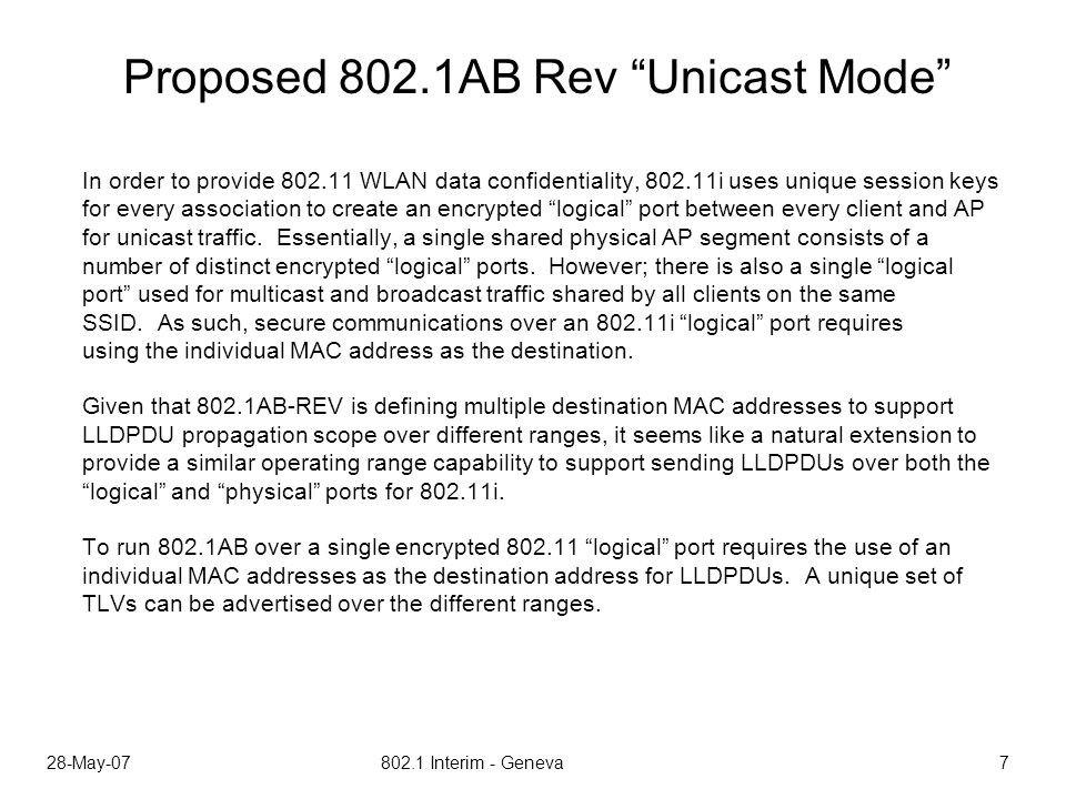 28-May-07 802.1 Interim - Geneva 7 Proposed 802.1AB Rev Unicast Mode In order to provide 802.11 WLAN data confidentiality, 802.11i uses unique session keys for every association to create an encrypted logical port between every client and AP for unicast traffic.