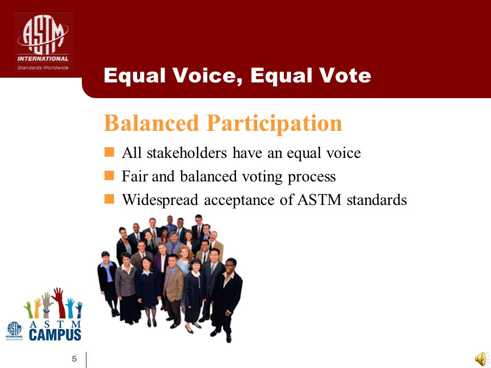 5 Equal Voice, Equal Vote All stakeholders have an equal voice Fair and balanced voting process Widespread acceptance of ASTM standards Balanced Participation