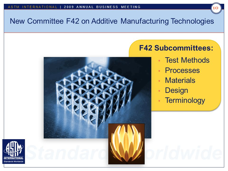 Standards Worldwide ASTM INTERNATIONAL | 2009 ANNUAL BUSINESS MEETING 10 New Committee F42 on Additive Manufacturing Technologies Test Methods Processes Materials Design Terminology F42 Subcommittees: