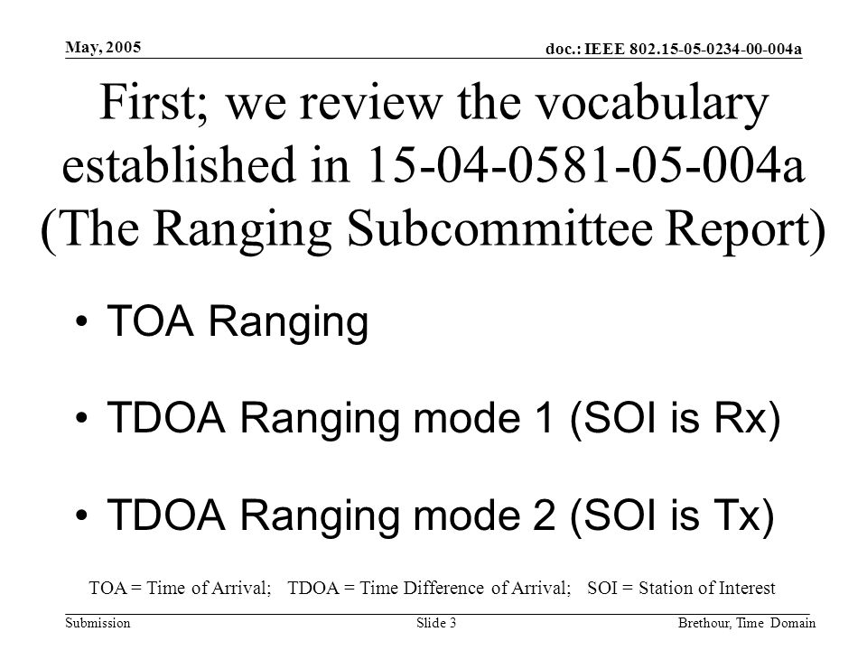 doc.: IEEE 802.15-05-0234-00-004a Submission May, 2005 Brethour, Time DomainSlide 3 First; we review the vocabulary established in 15-04-0581-05-004a (The Ranging Subcommittee Report) TOA Ranging TDOA Ranging mode 1 (SOI is Rx) TDOA Ranging mode 2 (SOI is Tx) TOA = Time of Arrival; TDOA = Time Difference of Arrival; SOI = Station of Interest