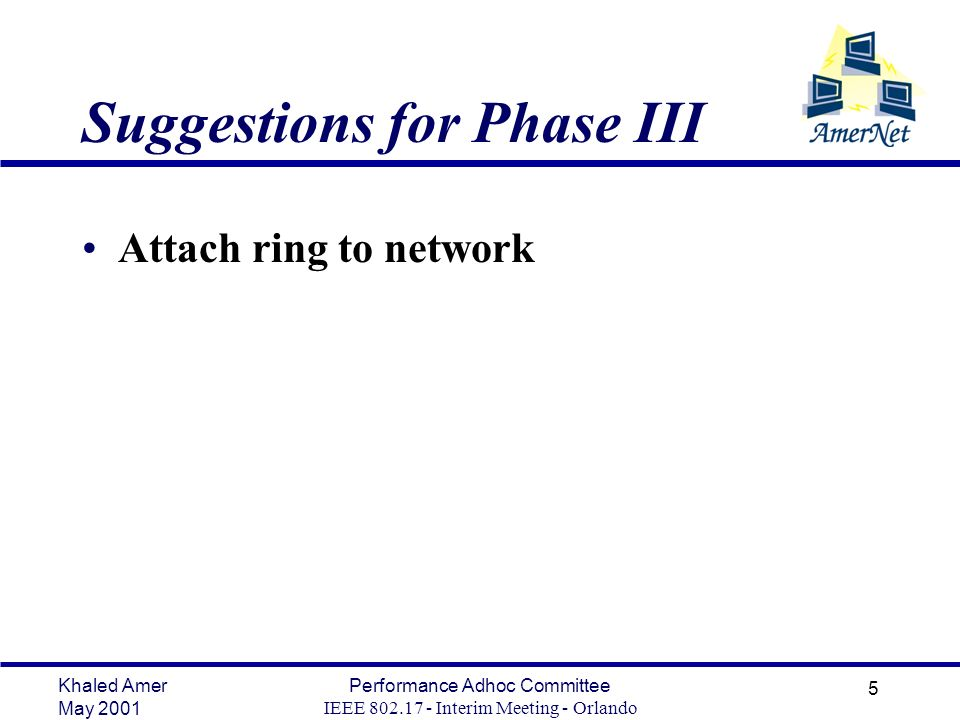 Khaled Amer May 2001 Performance Adhoc Committee IEEE 802.17 - Interim Meeting - Orlando 5 Suggestions for Phase III Attach ring to network