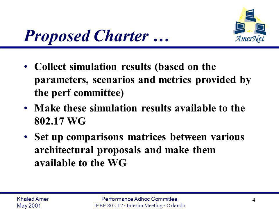 Khaled Amer May 2001 Performance Adhoc Committee IEEE Interim Meeting - Orlando 4 Proposed Charter … Collect simulation results (based on the parameters, scenarios and metrics provided by the perf committee) Make these simulation results available to the WG Set up comparisons matrices between various architectural proposals and make them available to the WG