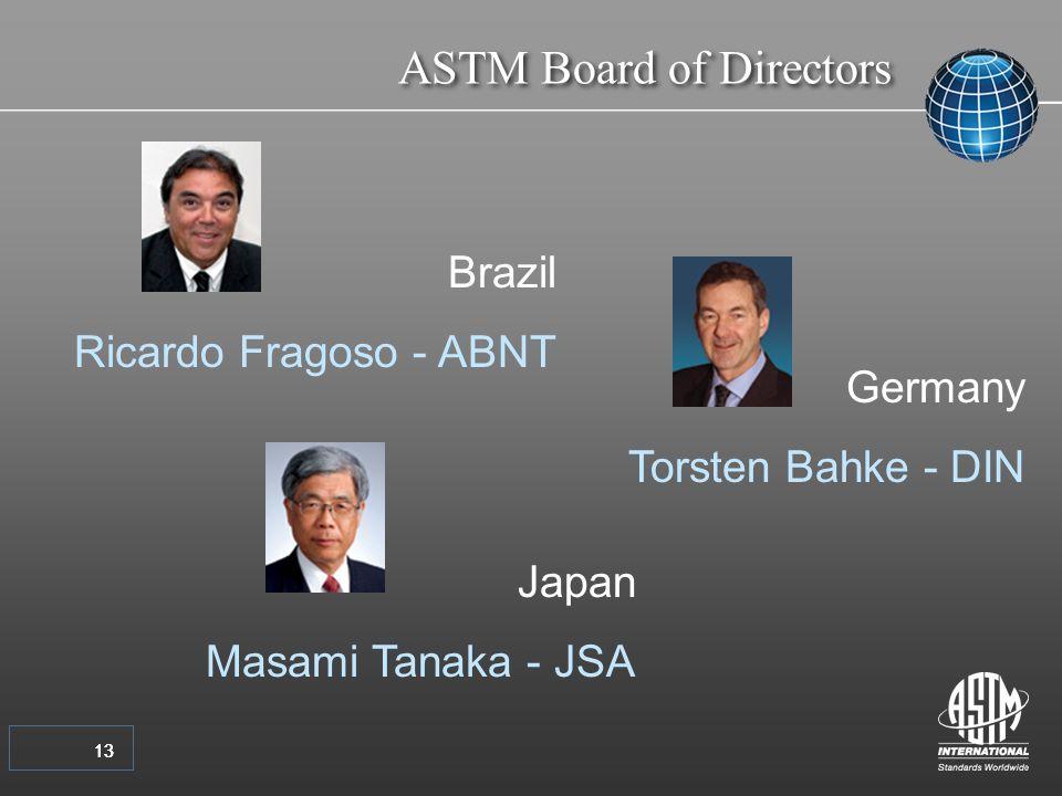 13 ASTM Board of Directors 13 Germany Torsten Bahke - DIN Brazil Ricardo Fragoso - ABNT Japan Masami Tanaka - JSA
